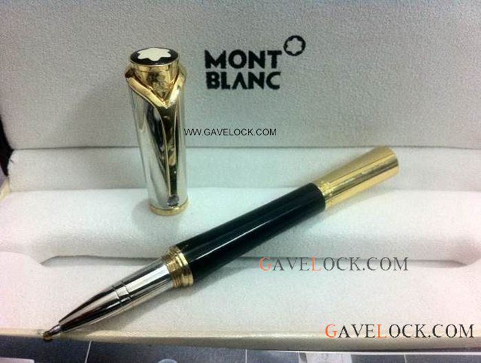 Montblanc Princess Monaco Black Resin & Gold Montblanc Rollerball Review Pen